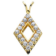 Pierced Diamond Shaped Pendant with Diamonds