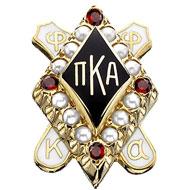 Medium Crown Pearl with Garnet Points Badge