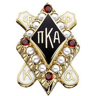 Large Pearl Badge with Garnet Points