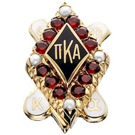 Large Garnet Badge with Pearl Points