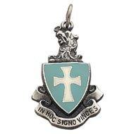 Enameled Sterling Fob Crest Charm/Pendant