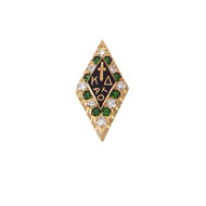 Large Alternating Diamond & Emerald Badge