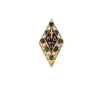 Large Alternating Pearl & Emerald Badge