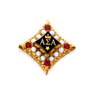 Crown Pearl Badge with Ruby Points
