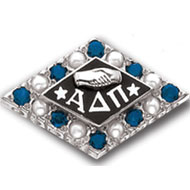 Alternating Crown Synthetic Stone and Pearl Badge