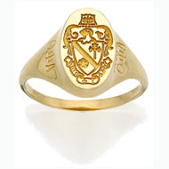 Vertical Incised Coat of Arms Ring