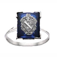 *Blue Sapphire Coat of Arms Cushion Ring