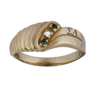 Classic Swirl Ring with Emerald and Pearl Accents