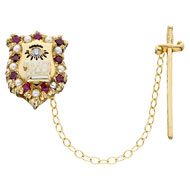 Alternating Crown Ruby and Pearl Badge with cz eye and detachable sword