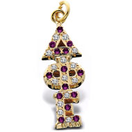 Crown *Amethyst and Cubic Zirconia Letter Lavaliere
