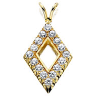 Pierced Diamond Shaped Pendant with Cubic Zirconias