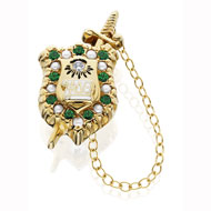 Alternating Pearl and Emerald Badge with cz eye and permanent sword