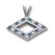 Large Diamond-shaped Pendant with alternating diamonds and sapphires*