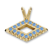 Small Diamond-shaped Pendant with *colored jewels