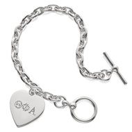 Cable Toggle Bracelet with Engraved Heart