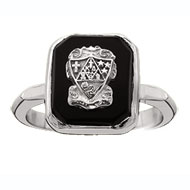 Square Onyx Ring with crest