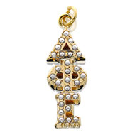 Crown Pearl Vertical Letter Lavaliere