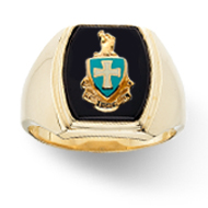 Classic Ring with Enameled Crest