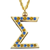 Sigma Pendant with yellow and blue sapphires
