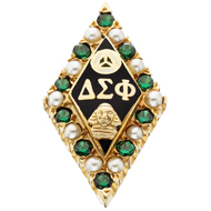 Alternating Pearl & Emerald Badge