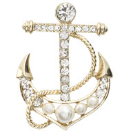 Jeweled Anchor Brooch