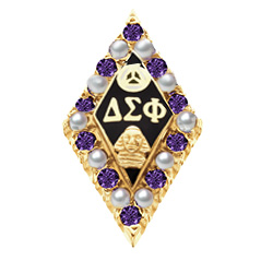 Alternating Amethyst and Pearl Badge