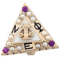 Crown Pearl Badge with Amethyst Points