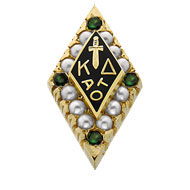 Large Crown Pearl Badge with Emerald Points