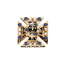 Crown Pearl and *Sapphire Sweetheart Pin