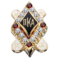 Large Diamond Badge with Garnet Points