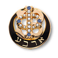 Polished Badge with Pearl Phi and Four Sapphire Points