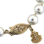 Pearl Necklace W/14K Crest