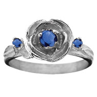 Rose Ring with *Sapphire Jewels