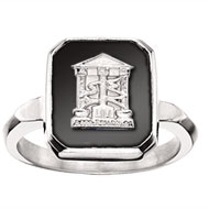 Square Onyx Crest Ring