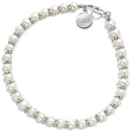 Mini Pearl Bracelet with Engraved Mini Tag