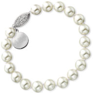 Large Pearl Bracelet with Filigree Clasp and Tag