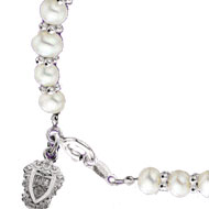Sterling Silver Mini Pearl Bracelet with crest charm