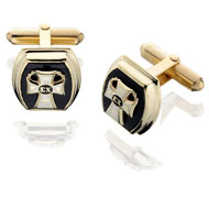 Barrel Onyx Cufflinks with Badge Replica
