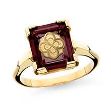 Garnet Cushion Ring with rose mounting