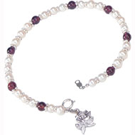 Pearl and Garnet Bracelet with rose charm