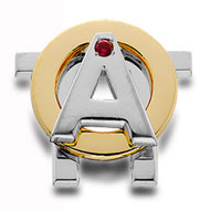 Two-tone Badge; polished white gold A and Pi, polished yellow gold O