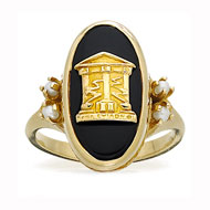 Imperial Onyx Crest Ring with Pearl accents