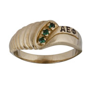 Classic Ring w/Syn. Emerald Stones