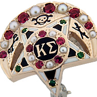 Large Alternating Pearl & Ruby Crescent & Center w/Emerald Points