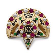 Medium Alternating Pearl & Ruby Crescent & Center w/ Emerald Points