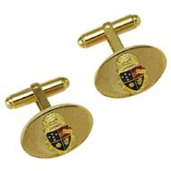 Oval Cufflinks with Enameled Crest